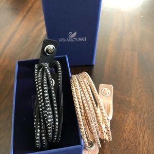 Two Swarovski Slake Crystal Wrap Bracelets